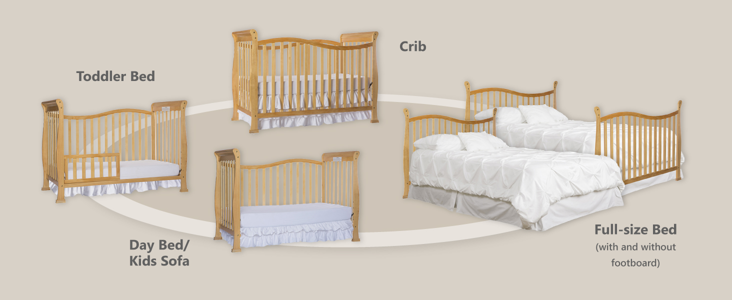 full size bed, toddler bed, day bed, kids sofa, convertible crib, 5 in 1 crib, dream on me crib,crib