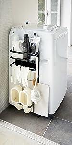 山崎実業 収納ラック 洗濯機横マグネット収納ラック タワー ブラック 3308