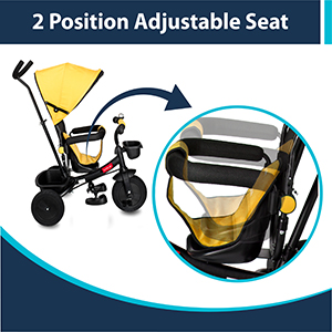 2 Position Adjustable Seat: