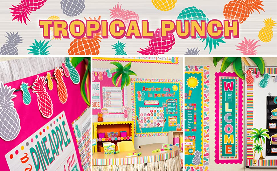 tropical punch theme header with classroom photos