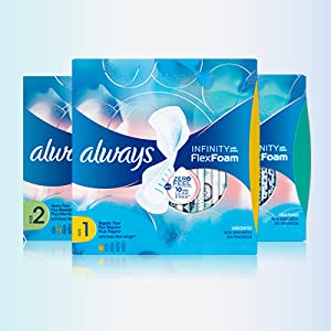 Always Infinity Feminine Pads for Women, Size 4, Overnight Absorbency, with  Wings, Unscented, 26