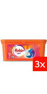 Robijn Color 3-in-1 Capsules voordeelverpakking voor gekeurde was, halfjaar voorraad wasmiddel