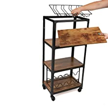 cart, utility, black, brown, wood, metal, multi, purpose, office, home, storage, rack, wine, kitchen
