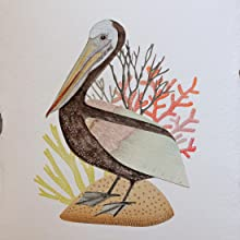 On a sheet of handmade watercolor paper, I make my pelican a nice