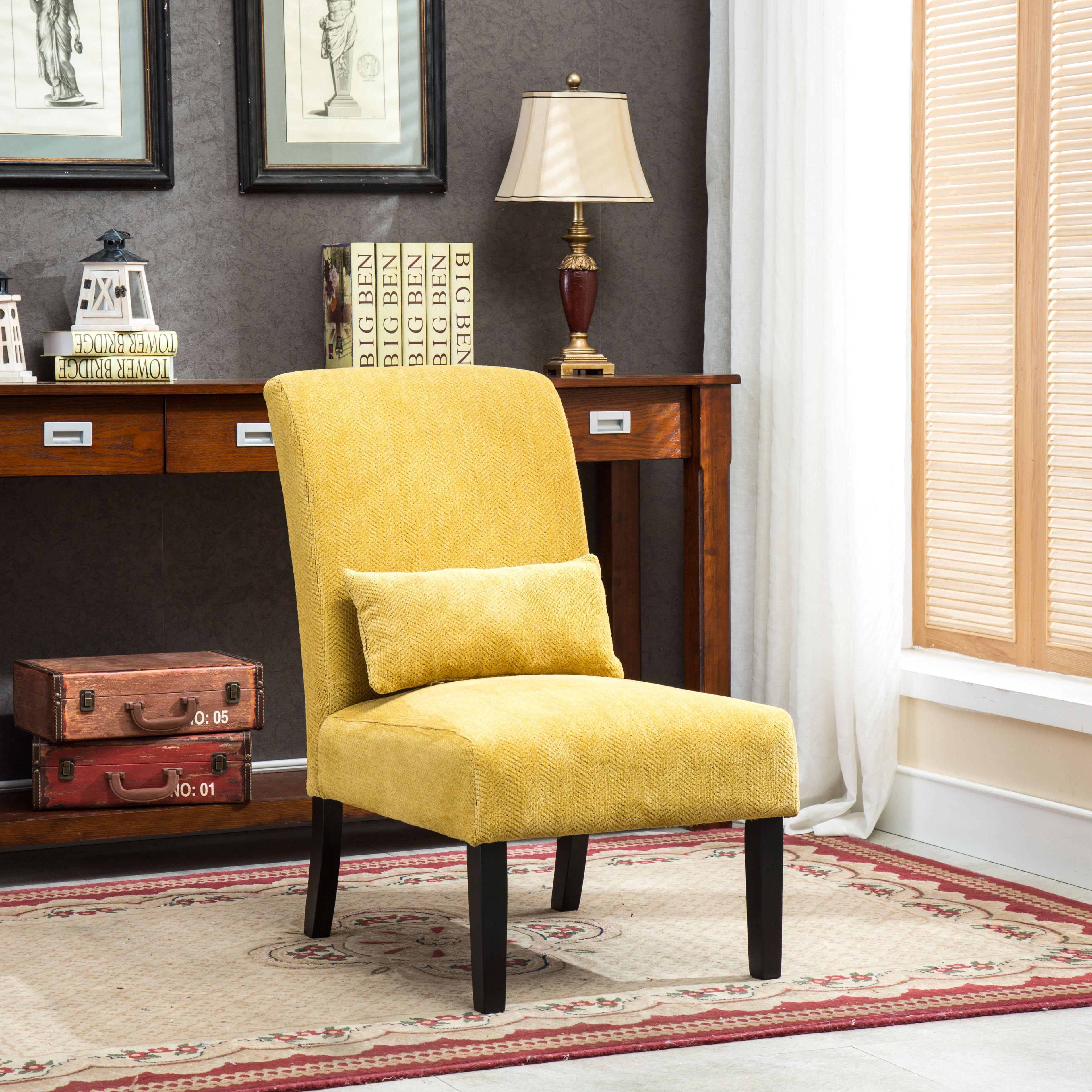 Roundhill Furniture Pisanoyellow Fabric Armless Contemporary