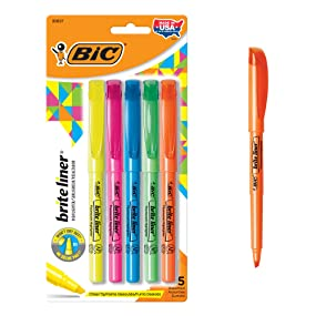 pack of 5 bic brite liner assorted highlighters