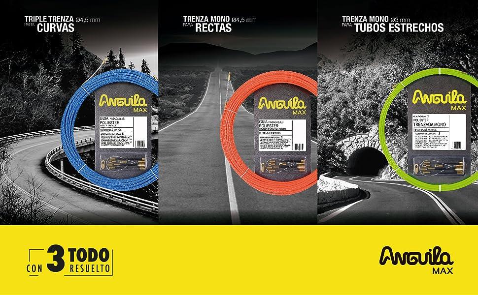 Anguila 65040012 Gu/ía pasacables cord/ón acero+nylon 12 Metros Purpura