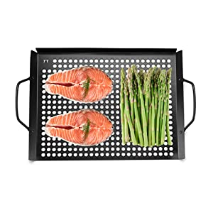 Grill Top Grill Grid BBQ Barbecue Topper with holes handles Weber Char-Broil Professional-Grade