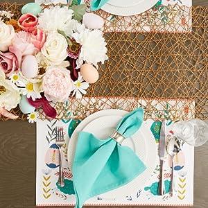 bunny decor,garden table,table setting decor,light blue table runner,dining room,pastel decor,home