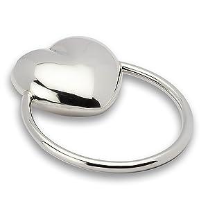 Sterling Silver Heart Baby Teether Rattle by Krysaliis