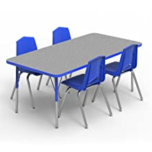 Red-Edge Marco Group AMG2244-F6-BRED 36 Round Shaped Adjustable Height Activity Table Standard Size Legs Gray Nebula-Top 21-30