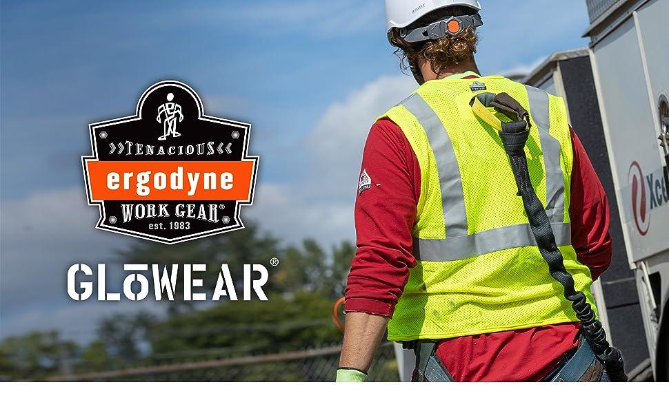 ergodyne tenacious work gear. Glowear. 8260frhl vest - worker in tether vest and fall protection