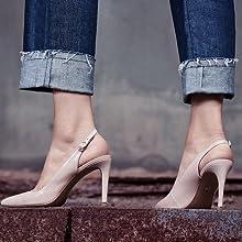 womens block heel pumps