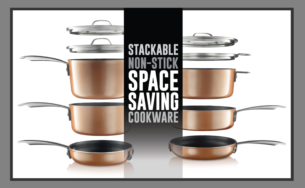 STACKABLE COOKWARE, GOTHAM, COPPER PAN SET, SPACE SAVING