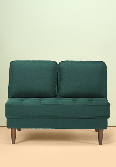 Amazon Com Zinus Christine Armless Upholstered 44 88 Inch Sofa Couch Loveseat Forest Green Furniture Decor