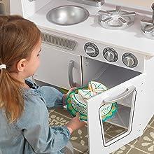 Teléfono Incluido De Diseño Kidkraft Niños Blanco Con Para Juguete 53208 Madera Cocina Vintage W2YHDE9I