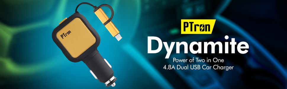 PTron Dynamite Power of Two in One 4.8A Dual USB Car Charger
