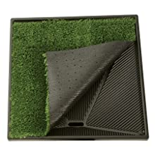 grass mat folded up to show tray underneath