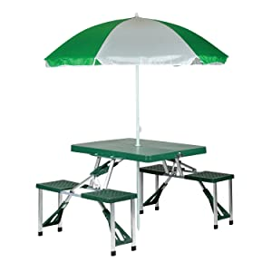 Amazon.com: Stansport 615 Picnic Table and Umbrella Combo Pack ...