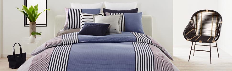 lacoste meribel colorblock stripe modern blue black white comforter duvet sham pillow bed