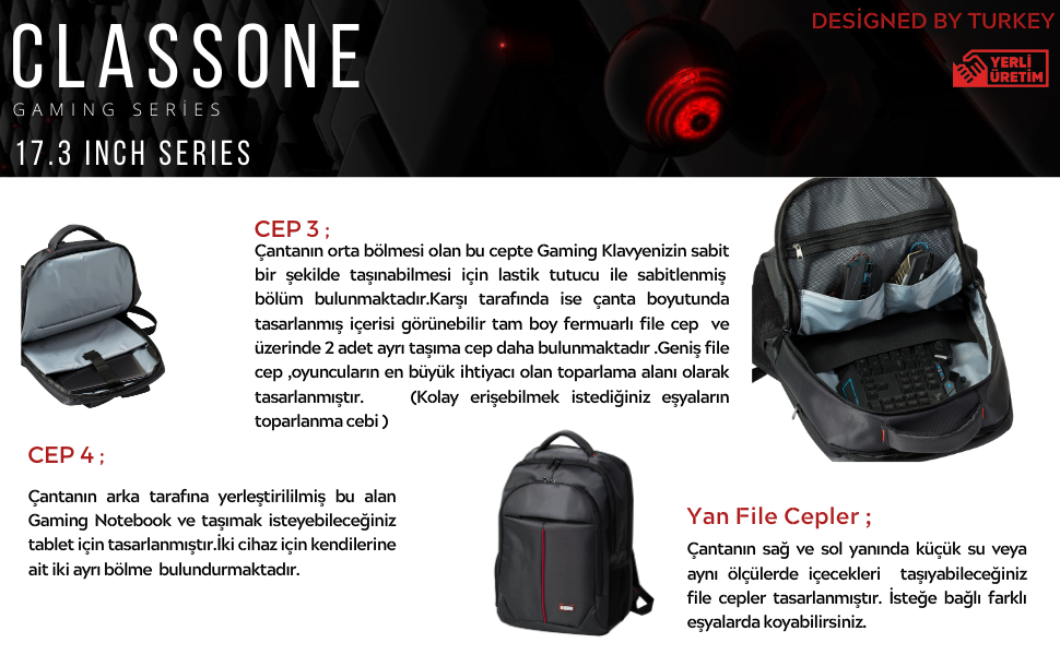 classone;laptop sırt çantası;notebook sırt çantası;gaming çanta