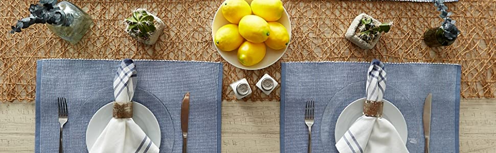 dii tablecloth round, table runner, kitchen table, navy table runner, dii kitchen mat,