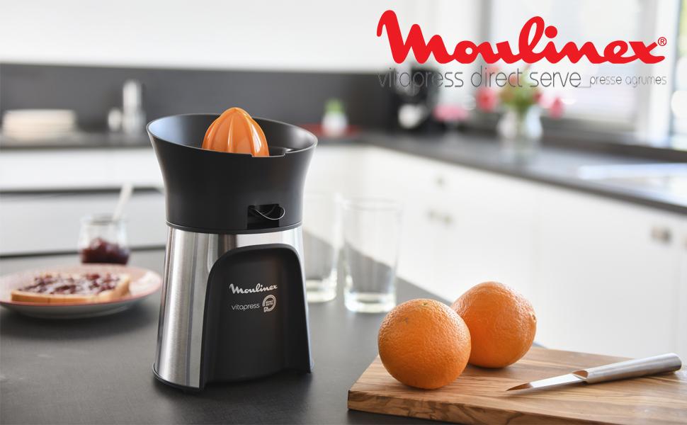 Moulinex Vitapress PC603D Exprimidor 100W de potencia con vertido directamente en el vaso, 3 conos para limones, naranjas, pomelos y tope antigoteo: Amazon.es: Hogar