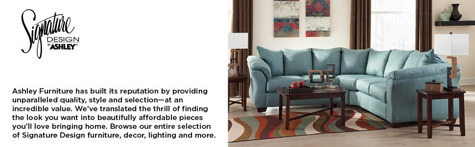 Signature Design by Ashley - Darcy Ultra Soft Upholstery Sofa, Sky