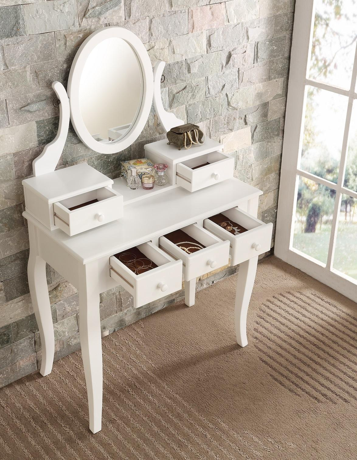 Roundhill Furniture Ashley Wood Make-Up Vanity Table And Stool Set