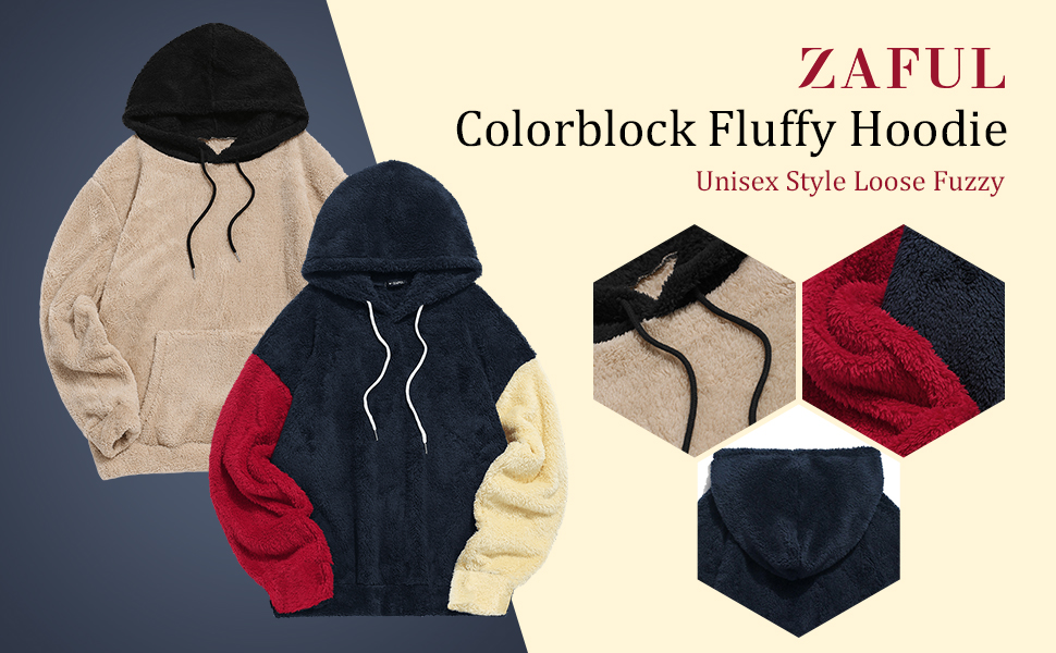 Zaful Mens Colour Block Splicing Fuzzy Pullover Hoodie Outwear