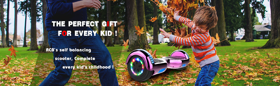RCB Scooter Elettrico 6.5 inch Auto-bilanciato con luci sulle Ruote Bluetooth per Adulti e BAMB Regalo di Natale