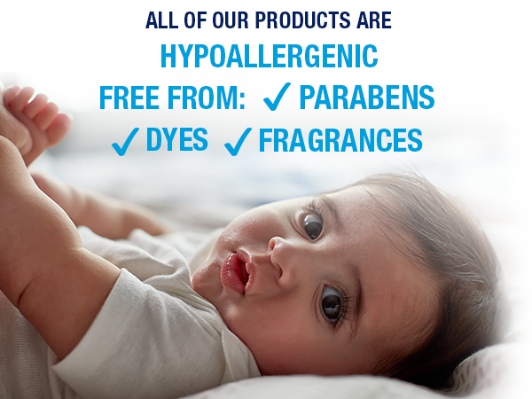 hypoallergenic, free from parabens dyes, fragrance free