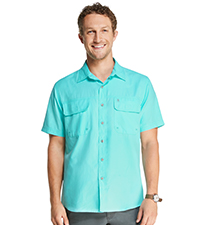 Big and Tall Explorer Short Sleeve Button Down Fishing Shirt Solid Flap Pocket
