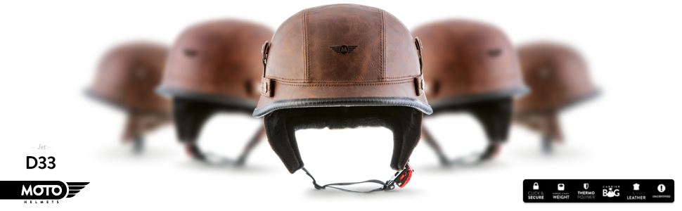 MOTO HELMETS D33_LEATHER-BROWN_M Casco de Moto Retro con Hebilla de Seguridad Click´n Secure TM Clip y Bolsa de Transporte, Marrón, M (57-58 cm)