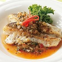 白身魚のムニエル バジル&スイートチリソース風味