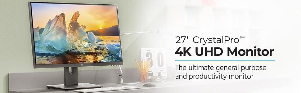 Monoprice 27in CrystalPro Monitor - 4K UHD, 60Hz, DisplayHDR 400 Certified, IPS