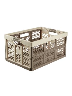 keeeper Robusta Caja Plegable con Asas Suaves, 54 x 37 x 28 cm, 45 l, Ben, Crema/Marrón