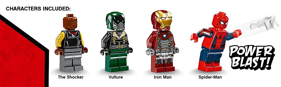 lego spiderman, lego ironman, lego superheros, minifigures, lego vulture, lego the shocker