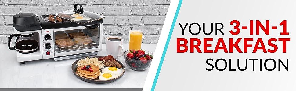 breakfast, breakfast station, toaster, toaster oven, bread, griddle, coffee, coffeemaker