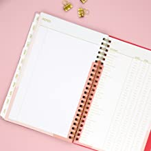 blue sky, cali pink collection, academic planner, holidays page closeup, 2020-2021, 5x8, notes page