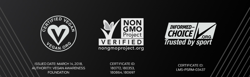 Vega Sport Premium Protein is certified vegan, Non GMO Project Verified, Informed Choice Certified