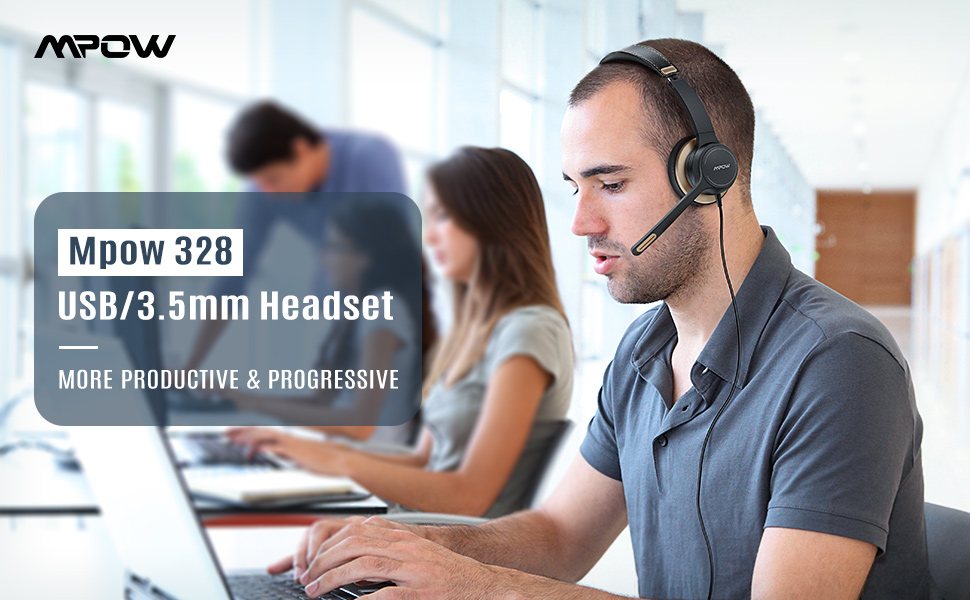 mpow usb headset with microphone for laptop computer headphones skype voip microphone headphone
