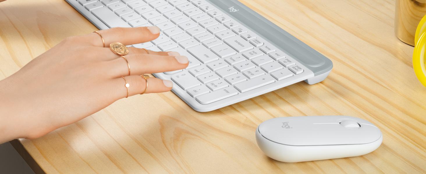 Logitech MK470 Combo Teclado y Ratón Inalámbrico para Windows, 2.4 GHz con Receptor USB, Diseño Compacto, Batería de Adecuada Duración, Disposición ...
