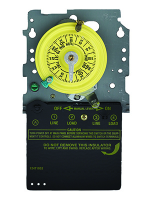 time switch, mechanical time switch, time switch mechanism, intermatic, yellow dial, timer, 24-hour