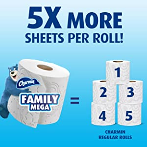 Charmin Papel Higiénico Ultra Soft Cushiony Touch 24 Mega Rollos Familiares 123 Rollos Regulares Health Personal Care
