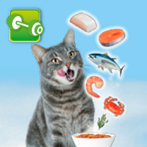 Cat with Seafood Icons