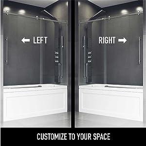 tub, shower, door, left, right, installation