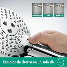 teleducha, ducha de mano, cambiar, alcachofa, botón, dedo, alternar, intuitivo, hansgrorhe, Grohe