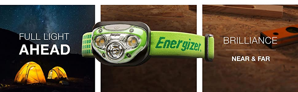 Full light ahead, brilliance near and far, Energizer LED Headlamp with Vision HD, green headlamp