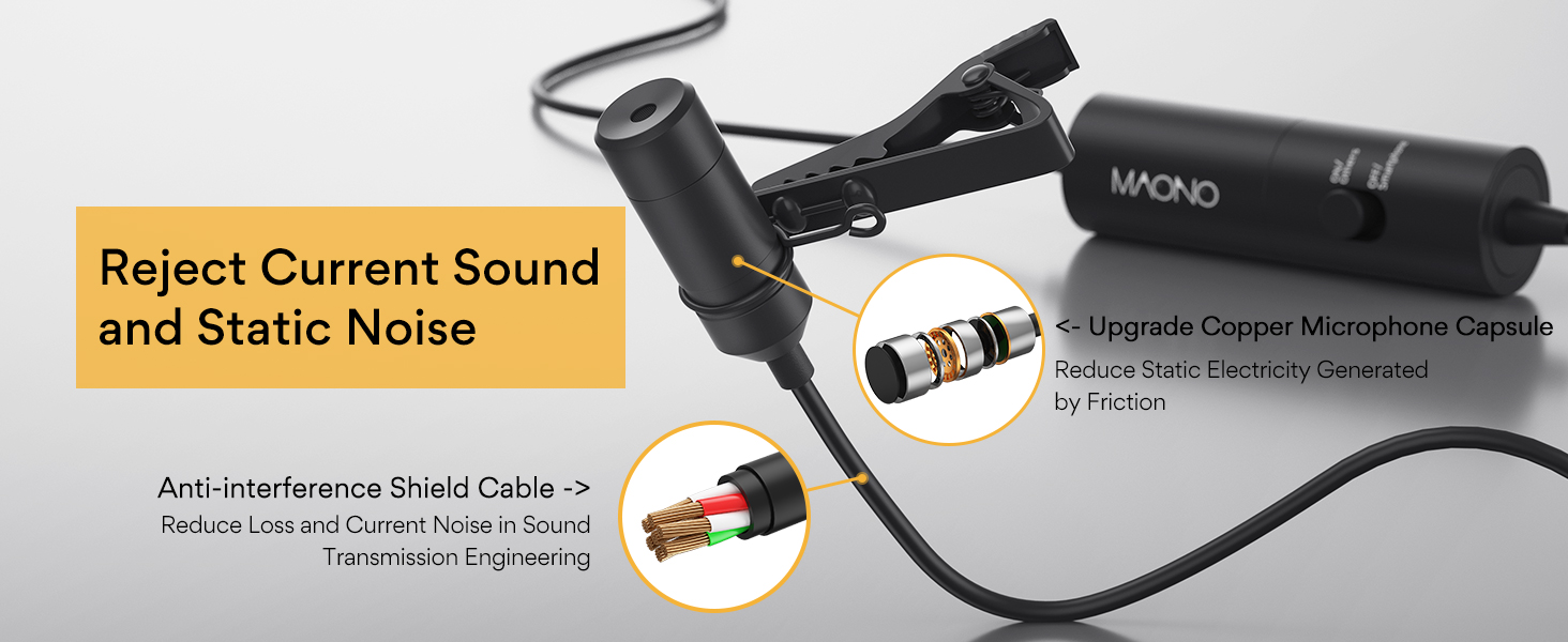 Condenser Clip On Lavalier Microphone for Recording